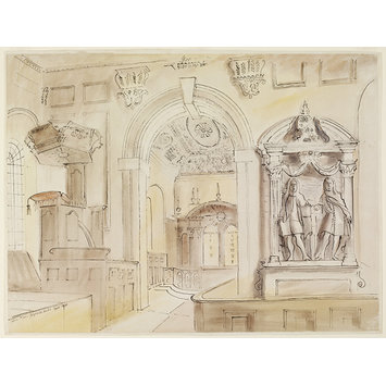 Watercolour - Interior of St. Peter's Church, Gayhurst