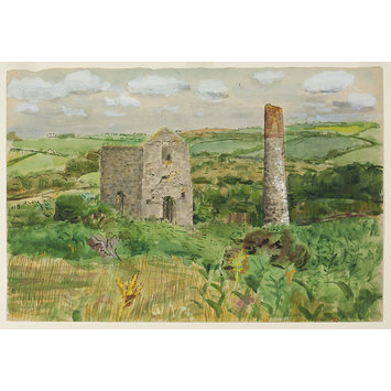 Watercolour - Deserted Tin Mine, Little Biryn, Roche