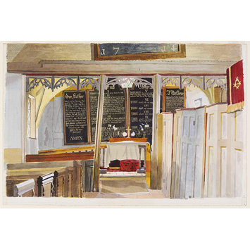 Watercolour - Interior, Black Chapel, North End, near Dunmow, Essex
