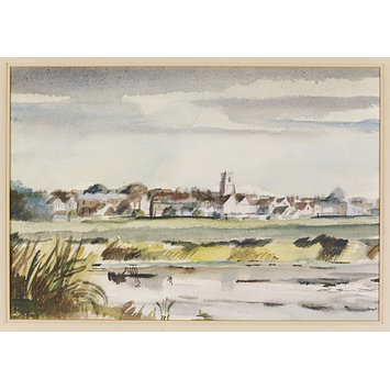 Watercolour - Evening View of Sudbury from the South-west