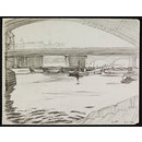 Cannon Street Bridge - seen from beneath an arch of Southwark Bridge (Drawing)
