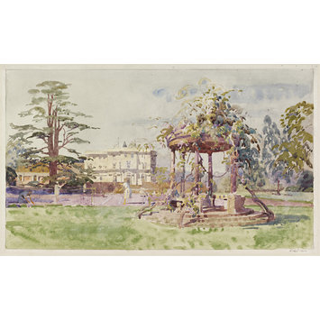 Watercolour - Cannons Park, Edgware; from the Tennis Courts