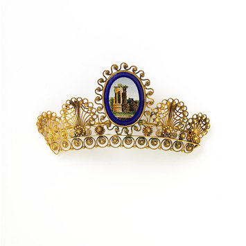 Italian micro-mosaic diadem c. 1840, in the Victoria and Albert Museum
