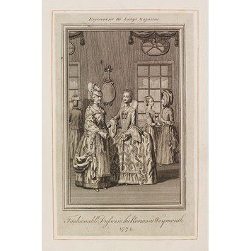 Fashion plate - Fashionable Dresses in the Rooms in Weymouth 1774