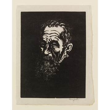 Print - Portrait head of Michaelangelo