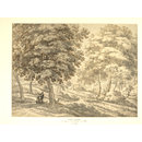 Wooded Landscape with Travellers and a Dog (Drawing)