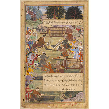 Painting - Akbar assists in capturing a cheetah