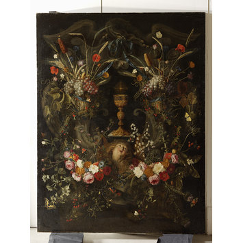 Oil painting - A Garland of Flowers Surrounding a Cartouche Containing an Angel's Head and the Holy Sacrament