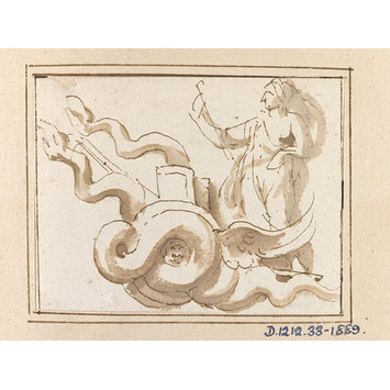 drawing - Demeter in her Chariot: motif from a relief of the rape of Persephone