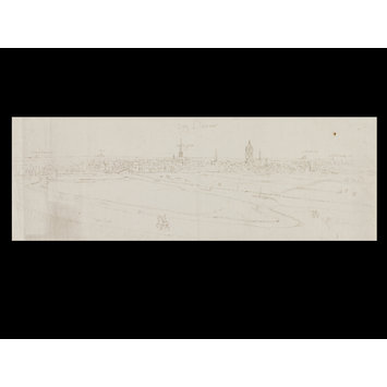 Drawing - Recto: Panoramic View of Damme