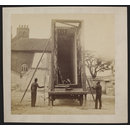 View of packing case and horse-drawn 'van' for transport of Raphael Cartoons from Hampton Court to South Kensington Museum (Photograph)