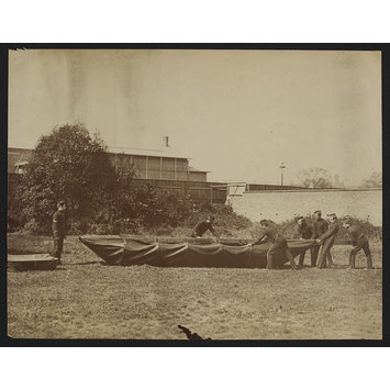 Photograph - Sappers putting together Captain Fowke's design for a canvas pontoon boat