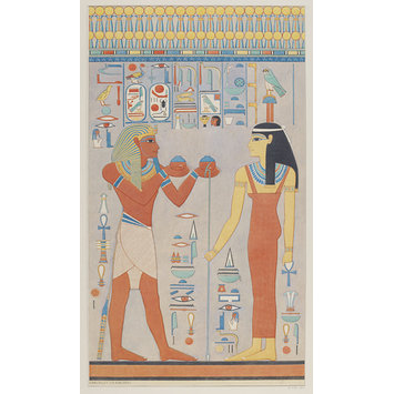 Drawing - King Haremhab offering wine to the goddess Hathor