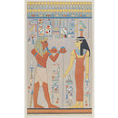 King Haremhab offering wine to the goddess Hathor (Drawing)