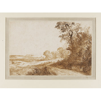 Drawing - Road by woods and fields