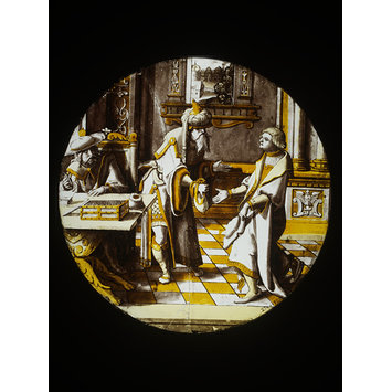 Roundel - Prodigal son receiving his portion from his father