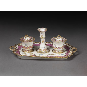 Inkstand with candlestick and two inkpots and covers