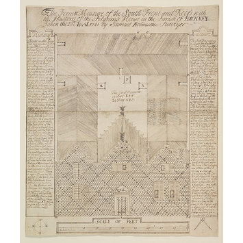 Drawing - The Form and Measure of the South Front and Roofs with the History of the Pilgrim's House in the Parish of Hackney. Taken the 20th April 1741 by Samuel Robinson surveyor.