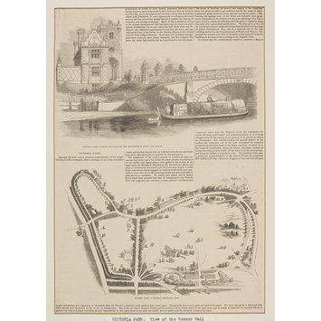 Print - Victoria Park.--Grand Entrance by the Elizabethan Lodge and Bridge