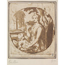Historiated Portrait of a Woman as Venus with Cupid (Drawing)