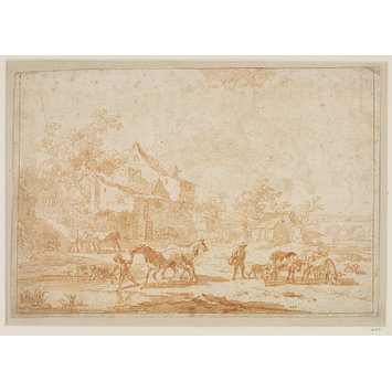 Drawing - Italianate landscape with horses and cattle drinking in a farmyard
