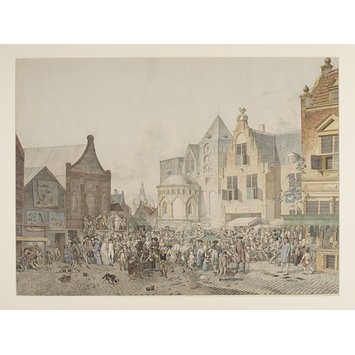 Painting - Imaginary street scene with market stalls and a theatrical performance