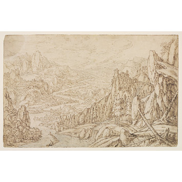 Drawing - A Mountainous River Landscape