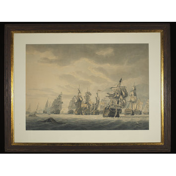 Watercolour - Battle of Cape St. Vincent, Commodore Nelson capturing the San Nicholas and San Josef