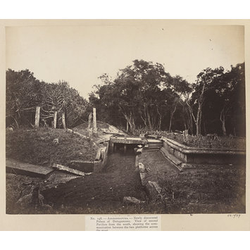 Photograph - Anuradhapura- Newly discovered Palace of Dutugemunu. View of second Pavilion from the south, showing the communication between the two platforms across the moat.