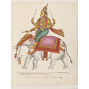 Indra, the god of storms, riding on a white elephant, Airavata. (Painting)