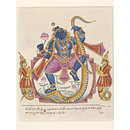 Krishna dancing on the serpent Kaliya. (Painting)