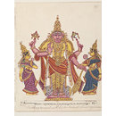 Vishnu as Varadarajaswami with his two 'shaktis', Shri Devi and Bhumi Devi. (Painting)