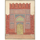 Fifteen drawings of Mughal architecture and ornamental detail on Mughal monuments at Agra. (Drawing)