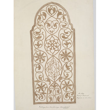 Drawing - One of thirty drawings of details of architectural stone and mother-of pearl ornament taken from rubbings and moulds of monuments in Ahmedabad, the capital seat of the Ahmad, Shahi dynasty.