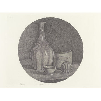 Print - Large circular still life with a bottle and three objects