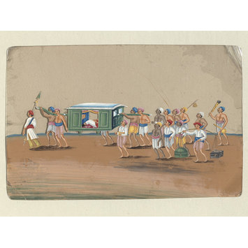 Painting - One of two drawings depicting procession scenes in Patna.