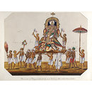 One of twenty mica paintings depicting Hindu deities and festival processions with decorated cars. (Painting)