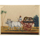 A bullock cart carrying a cheetah. (Painting)