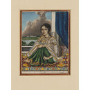 An Indian lady seated on a carpet by an open door overlooking a river with a European-style house on the opposite bank. (Painting)