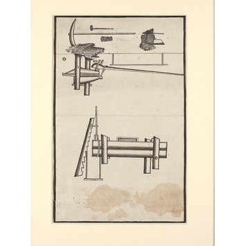 Drawing - One of seven sheets of drawings depicting implements and musical instruments.