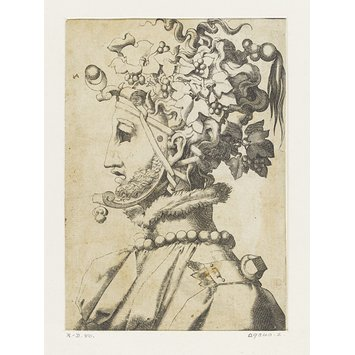 Print - Masked man with curly beard