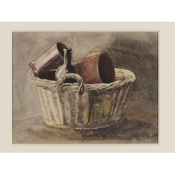 Watercolour - Still life with wicker basket, bottle and two brown vessels