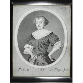 Portrait miniature - Portrait of a woman aged 23 in a feigned oval