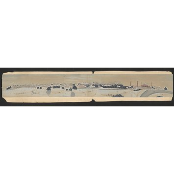 Painting - Panoramic view of the city of Lahore showing the Lahore Fort on the right.