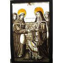 Clara Straven kneeling before St Francis and St Clare (Panel)