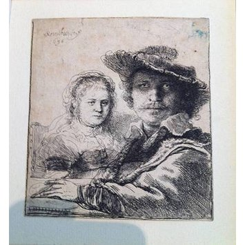 Print - Self portrait with his wife Saskia