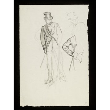 Drawing - A man in evening dress