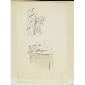 Drawing - Table and animal skull