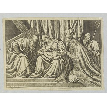 Print - Virgin and Child and three Saints in adoration