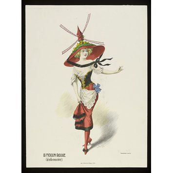 Colour lithograph - Le Moulin Rouge (La belle meunière)